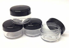 48 x 6ml/3g Empty craft/lip balm/cosmetic pot/make up container- black lid
