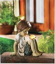 Solar Lighted Boy with Turtle and Butterfly Outdoor Garden Light Statue New