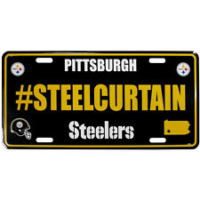 "NFL Pittsburgh Steelers Hashtag License Plate, 18"", Black"