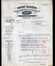 """PARIS (XI°) FOURNITURES pour USINES / VALVOLINE """"Henry HAMELLE"""" Tarifs en 1930"""