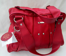 COWHIDE LEATHER COLOUR RED WITH STUDS BAG TOP SHOULDER STRAPS ++++  3732