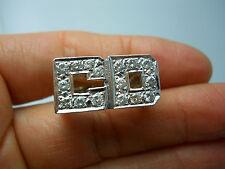14K WG MEN'S LETTER C D DIAMOND SIGNET RING SIZE 7.75 .80 CARAT TW B48041