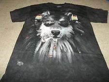 The Mountain SMOKING RASTA WOLF Adult Men T-Shirt L Short Sleeve USA