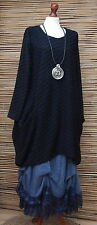 LAGENLOOK OVERSIZE*MB GERMANY*QUIRKY WAFFLE EFFECT TUNIC*BLACK*SIZE 1 L-XL
