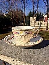 Vintage Dresden Flowers Swags Gold Accented Square Handle Cup And Saucer