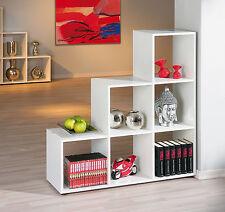 Petit meuble de séparation bibliothèque étagère de rangement large plateau BLANC