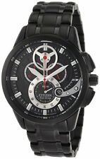 New Mens Citizen Eco-Drive Black IP Stainless Steel Chronograph Watch AT2065-59E
