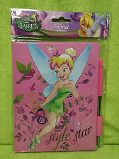 Disney Fairies Tinkerbell Pink 40 Page Hardbound Diary Journal w/ Pen NEW
