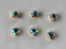 VINTAGE 6 SQUARE SET IN BRASS CRYSTAL AB AURORA BOREALIS SWAROVSKI ELEMENTS 6mm