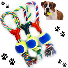 Large Dog Play Rope Tennis Ball Throw Tugger Pet Puppy Playing Fetch Chew Bite