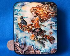 Trinket LACQUER Shell Paper Box hand painted Halloween Witch Papier Mache signed