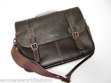 Kenneth Cole Reaction Briefcase Brown Leather Laptop Bag Flap Brief Messenger