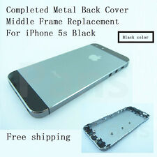 Complete Housing Back Door Cover + Mid Frame Assembly For Black iPhone 5s