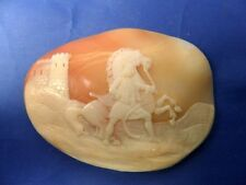 STUNNING ANTIQUE CARVED SHELL CAMEO FOR BROOCH TURKISH MALE, HORSE CASTLE SCENE