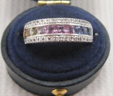 Sapphire & Diamond Ring set in 14ct White Gold