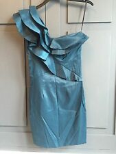 River Island One Shoulder Teal Party Dress With Ruffles Size UK 6 - Used