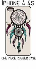 BLACK RUBBER Case For iPhone 4 4S Cover RAINBOW DREAMCATCHER feather