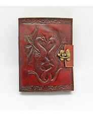 "Leather Embossed Double Dragon Journal w/ Metal Lock, 5"" x 7"" Handmade Paper"