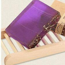 NATURAL WOOD SOAP DISH & LAVENDER HANDMADE LUSH SOAP GIFT SET