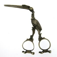 Novelty Silver Midwife Stork Umbilical Cord Tongs Scissors Germany Circa 1900