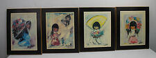 """Vintage Ted DeGrazia 4 Set Prints On Wood 12"""" by 15"""" Flower Boy Girl Hope Pretty"""