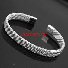 Unisex Men Women's Silver Stainless Steel Cable Wire Cuff Bangle  Bracelet Hot