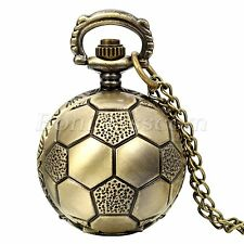 Antique Bronze Tone Soccer Football Quartz Pocket Watch Necklace Sweater Chain
