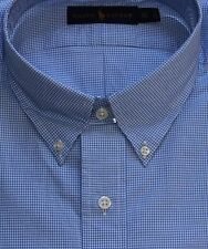 New $110 Polo Ralph Lauren Long Sleeve Blue Checked Cotton Poplin Shirt / Big 2X
