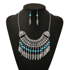 Gypsy Lady Retro Tibet Silver Plated Turquoise Leaf Tassels Necklace Earring Set