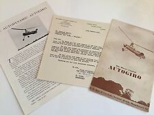 A V ROE DIRECT CONTROL AUTOGIRO BROCHURE WITH LETTER 1945 AVRO CIERVA