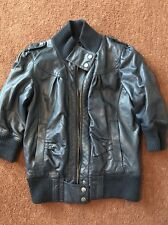 Ladies Navy Blue Biker Style Jacket, 3/4 Sleeves, Size 12