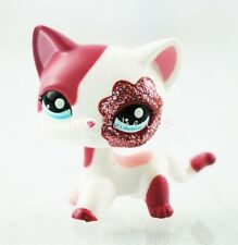 Littlest Pet Shop LPS Pink White Sparkle Glitter Short Hair Cat Kitty Toys #2291