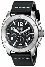 New Fossil Modern Machine Chronograph Black Leather Men Watch 45mm FS4928 $155