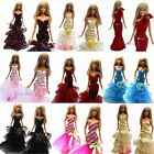 5 Pcs Evening Wedding Dress Clothes Gown Outfit with 10 Shoes for Barbie Doll