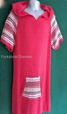 New MONSOON Girls Coral Pink Red Knitted Fairisle Dress with Hood -Age 12 13 yrs