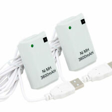 2 Batería Recargable + Cable Para Xbox 360 Blanco Play & Charge