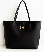 ORIGINALE MICHAEL KORS BORSA/BAG JET SET TRAVEL TOTE SAFFIANO NERO/ORO NUOVO