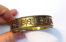 Antique Victorian Etruscan Revival Yellow Rose Gold Filled Bangle Bracelet