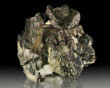 "3.2"" Penetrating Twins Silver ARSENOPYRITE Crystals w/Ferberite China for sale"