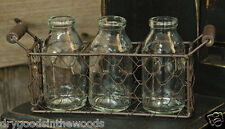 3 BOTTLES WITH RUSTIC CHICKEN WIRE BASKET PRIMITIVE COUNTRY AMERICANA