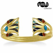 Egyptian Lotus Flower Gold-Plated Cuff Bracelet with Turquoise Carnelian Beads