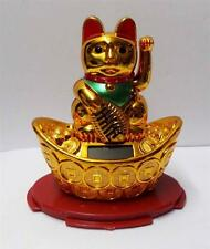 "4"" Solar Powered Moving Hand Golden Maneki Neko Lucky Cat On Gold"