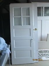 ANTIQUE EXTERIOR WOOD DOOR 4 PANES GLASS AND 3 HORIZONTAL RAISED PANELS