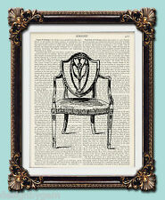 "Victorian chair Antique vintage encyclopaedia dictionary art print 10"" x 8"""