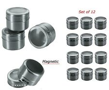 Magnetic Spice Tins Stainless Steel Storage Container Jars Clear Lid Set of 12