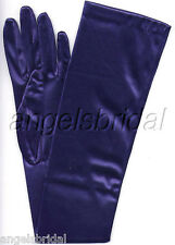 "23"" NAVY BLUE STRETCH SATIN BRIDAL WEDDING GOWN PROM DRESS EVENING OPERA GLOVE"