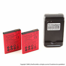2 x 1700mAh Battery for HTC Thunderbolt ADR6400 T-Mobile myTouch 4G Charger