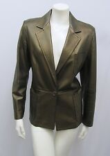 MAX MARA MAXMARA LEATHER JACKET METALLIC GREEN BRONZE I 44 F 42 USA 10 8