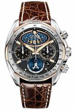 Citizen Signature Mens Moon Phase Flyback Chronograph Crocodile Watch AV3006-09E