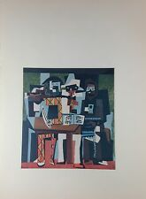 "1957 Vintage Color Plate ""THREE MUSICIANS"" by PICASSO Cubism offset Lithograph"